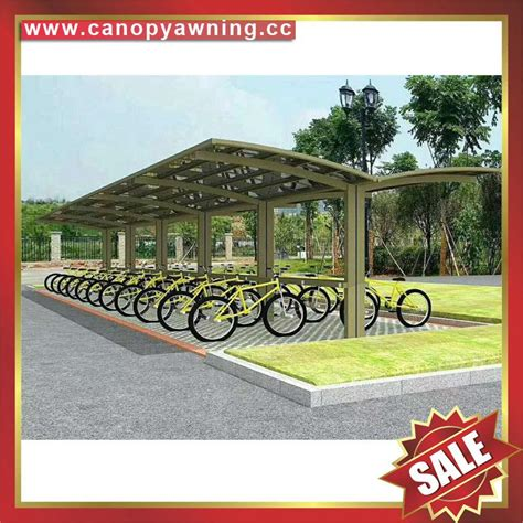 customized aluminium polycarbonate bicycle bike shelter canopy awning lingfeng china