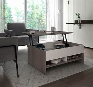 Bestar, Small, Space, 37-inch, Lift-top, Storage, Coffee, Table, In, Bark, Gray, And, White