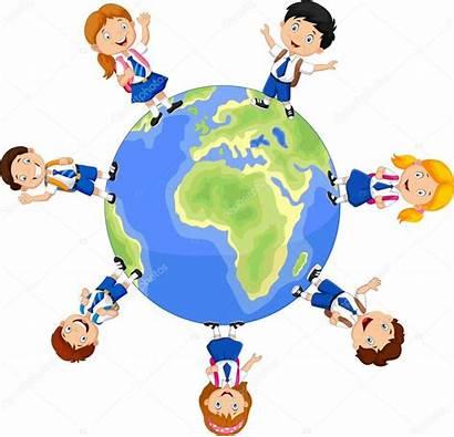 Globe Children Around Illustration Vector Depositphotos