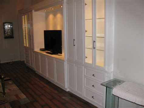 White Entertainment Wall Unit   Traditional   Family Room
