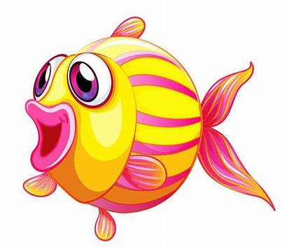 Cartoon Fish Clipart Goldfish Clip Breathing Sea