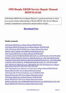 1995 Honda Xr250 Service Repair Manual By Yuan Wang