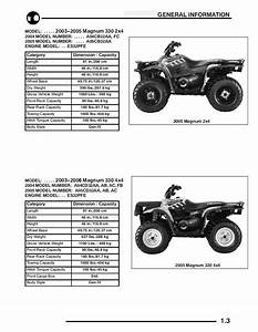 Polaris 2003 2004 2005 2006 Atv Magnum 330 Hds 2x4 4x4 Service Manual Binder