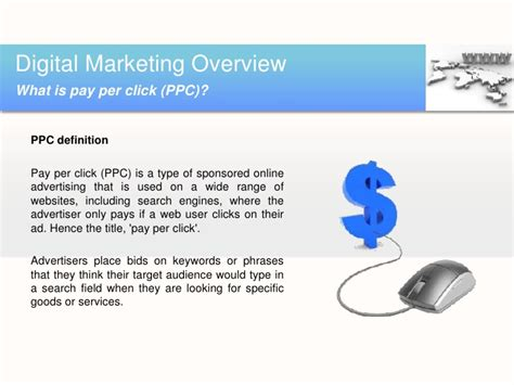 Digital Marketing Definition by Pay Per Click Marketing Definition