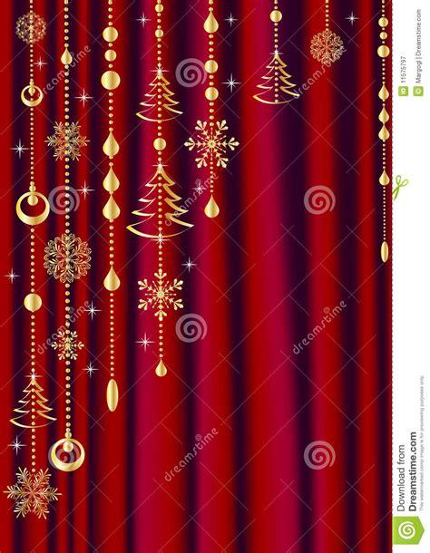 Rideau Rouge Avec La Décoration De Noël Photographie