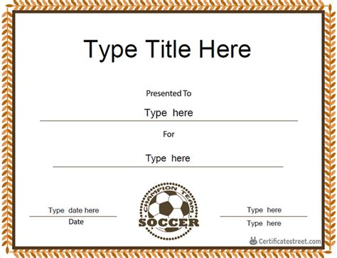 Soccer Award Certificate Templates Free by Soccer Certificate Templates Soccer Certificates Templates