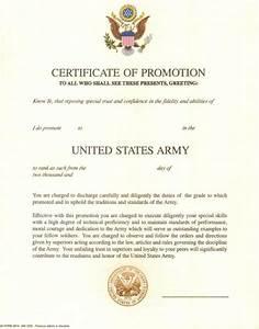original blank us army certificate of promotion with With army promotion certificate template