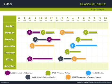 time schedule template powerpoint class schedule free charts for powerpoint and impress