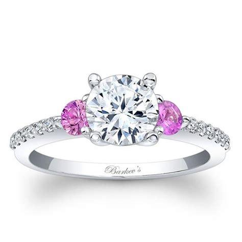 barkev s 14k three stone diamond and pink sapphire
