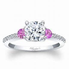 Barkev's 14k Three Stone Diamond And Pink Sapphire