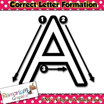 alphabet tracing letters correct formation font clip art