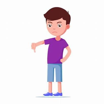 Boy Serious Clip Cartoon Vector Down Showing