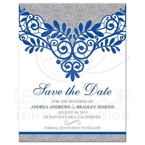 Royal Blue Silver Wedding Save the Date Royal Blue Silver