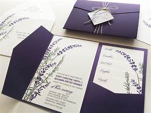 Lavender Wedding Invitation Sample, Purple Pocketfold Tags ...
