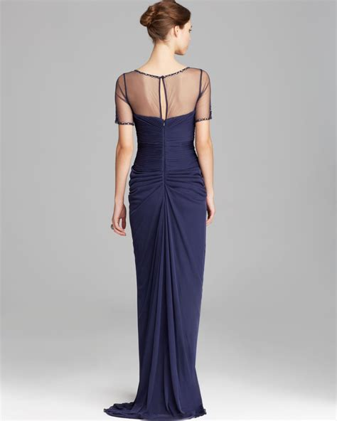 Drape Gowns - papell gown sleeve illusion neckline drape