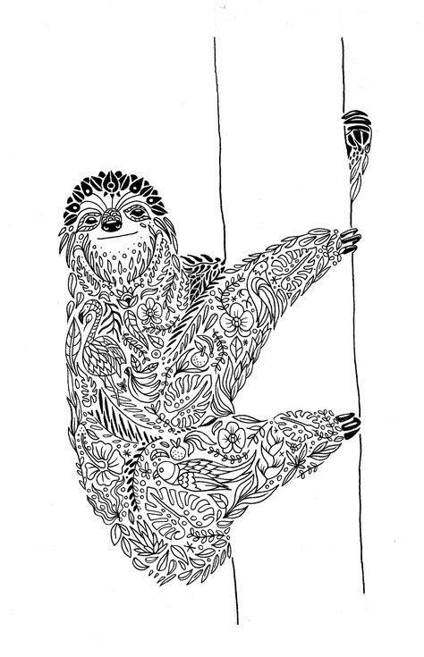 sloth mandala Diego Ayerbe | Coloring pages | Animal coloring pages, Mandala, Coloring pages