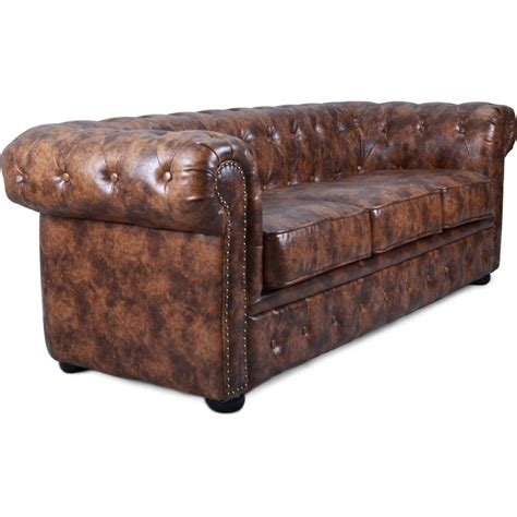 chesterfield canapé canapé chesterfield 3 places cuir marron vintage susan