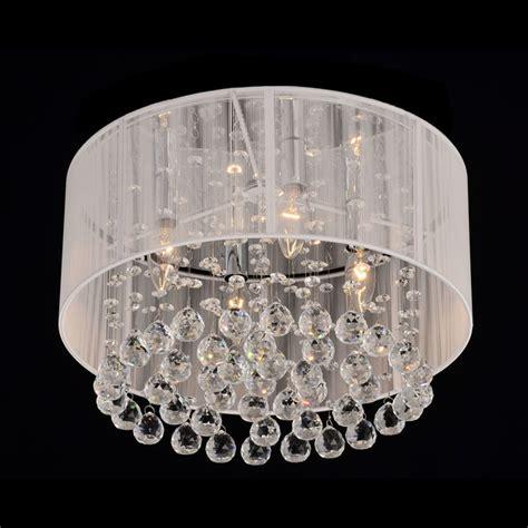 flushmount 4 light chrome and white chandelier