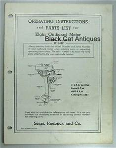 Sears Elgin Outboard Motor Owners Manual  Part List For 5