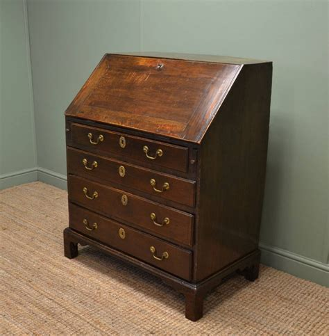 bureau com early georgian oak country antique bureau 258618