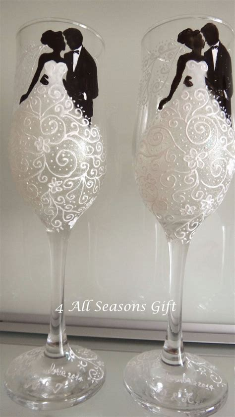wedding chagne glasses hand painted glasses