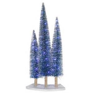 pre lit led blue glitter artificial mini tree trio set walmart