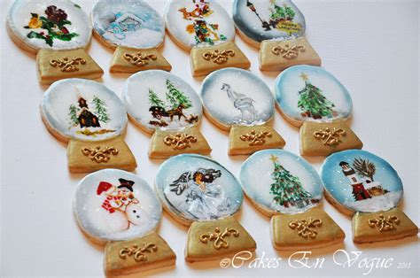handpainted christmas snow globe cookies cookie connection