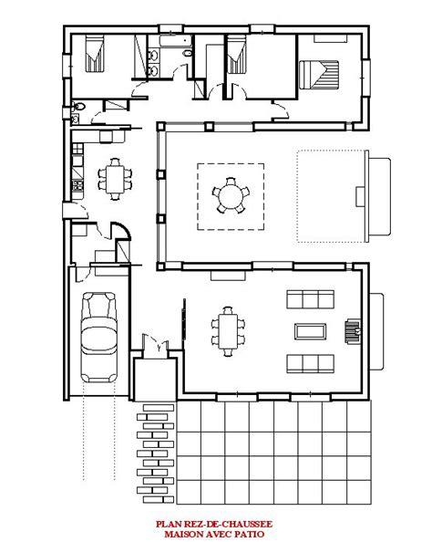 plan de maison avec patio central maison avec patio central plan plan terrasse