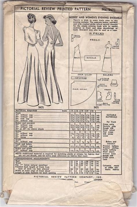 bust dress vintage sewing pattern pictorial