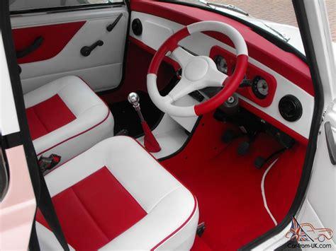 classic austin mini advantage white custom leather