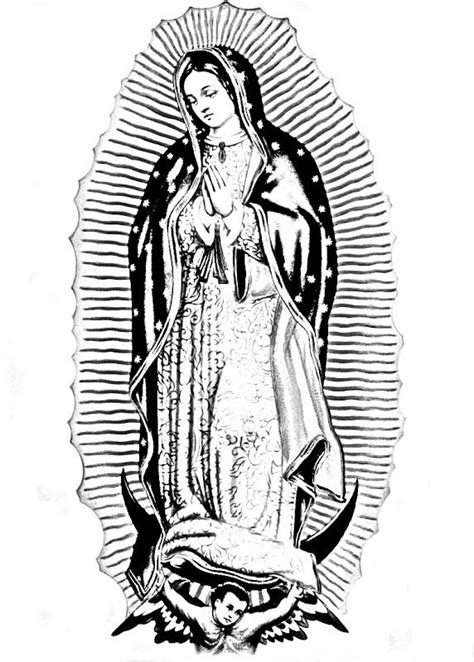 """Virgen de Guadalupe coloring pages. Offer these with """"Mary"""