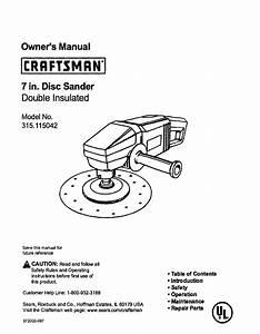 Craftsman Sander 315 115042 User Guide