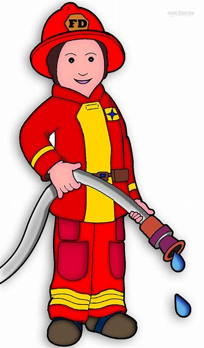 Fireman Firefighter Clip Clipart Coloring Pages Printable