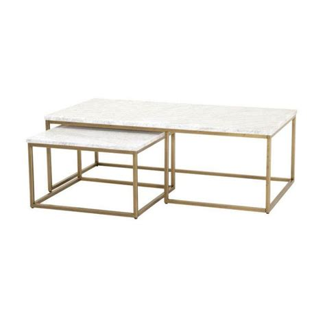Set of 2 includes one small table and one large table. Carrera Marble Brass Nesting Coffee Table