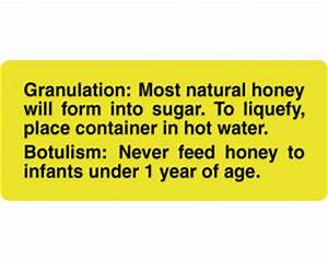 Honey granulation and botulism warning label ml87 for Honey warning label