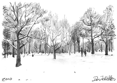 Sketches Snow In Hyde Park Dave Gibbons Artwork