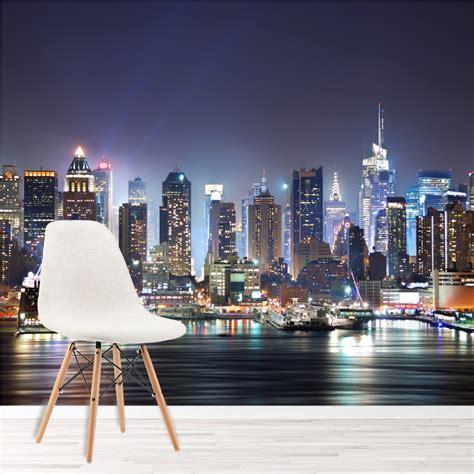 york city skyscrapers  night skyline wall mural