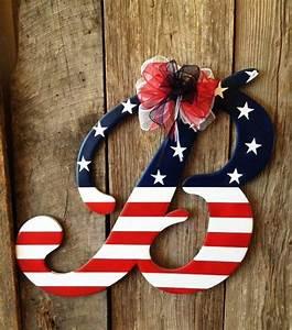 wooden door hanger patriotic letter b by rkdragonfly on With letter b door hanger