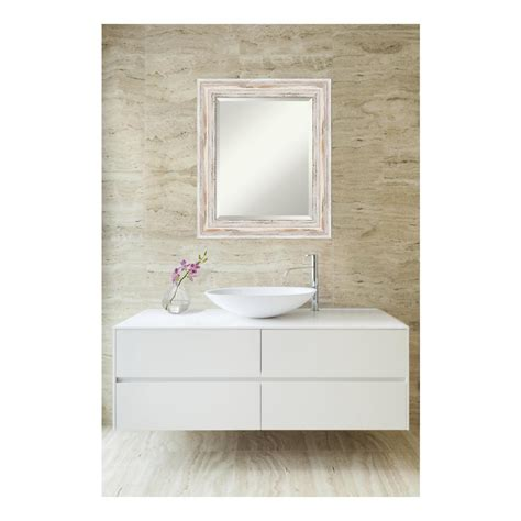 White Wood Bathroom Mirror by Amanti Alexandria White Wash Wood 21 In W X 25 In H