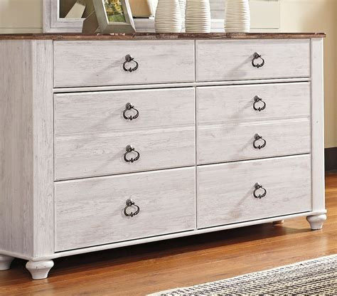 rc willey dresser whitewashed classic rustic 6 bedroom set
