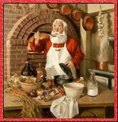 le père noel cuisine dans sa cuisine