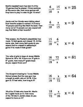 proportions word problems card sort 2 setting up and