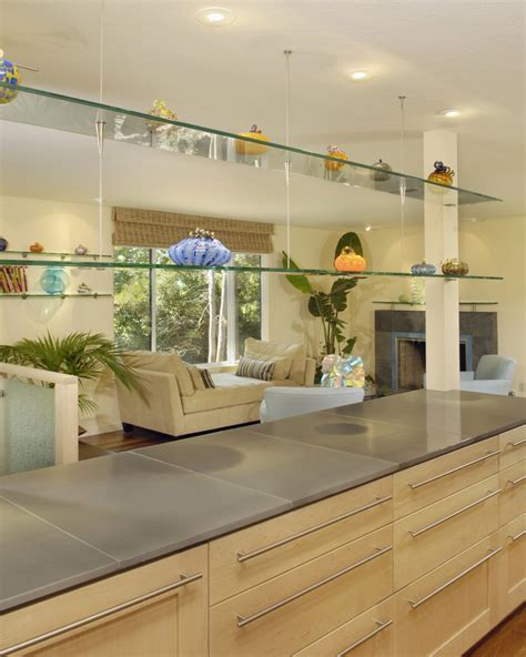 floating glass shelves Kitchen Contemporary with arm chair