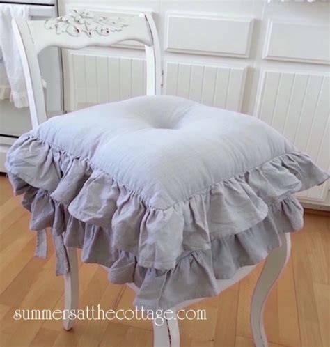 GRAY RUFFLED CHAIR SEAT CUSHION SHABBY COTTAGE FRENCH