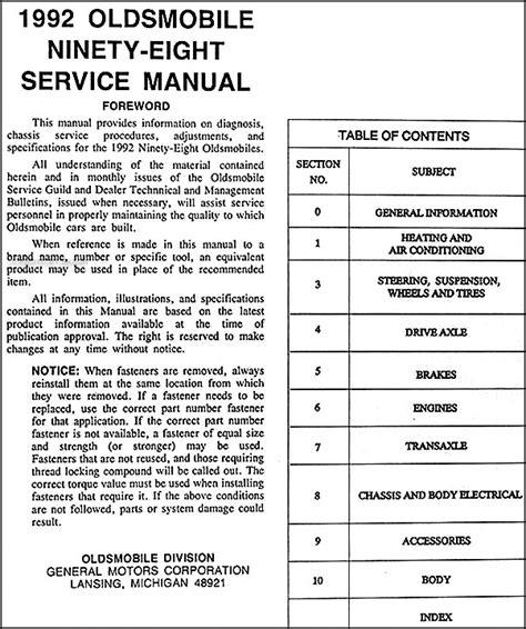 free car repair manuals 1994 oldsmobile 98 free book repair manuals 1992 oldsmobile ninety eight repair shop manual original
