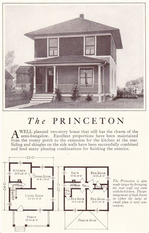 American Foursquare Floor Plans Modern by Lewis Manufacturing 1922 Foursquare Two Story Princeton