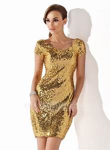 Sheath column scoop neck short mini sequined cocktail for Robe de cocktail couleur or
