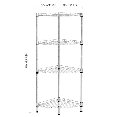 4 Tier Wire Shelving Rack Corner Unit Storage Adjustable