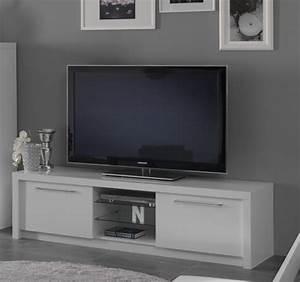 Meuble Tv Blanc Laqué : meuble tv plasma fano laque blanc blanc brillant l 180 x h 50 x p 50 ~ Teatrodelosmanantiales.com Idées de Décoration