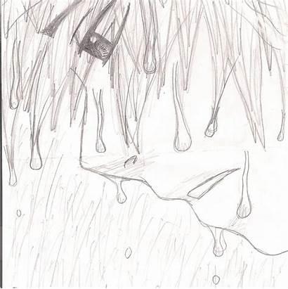 Sad Anime Boy Drawing Rain Dark Crying